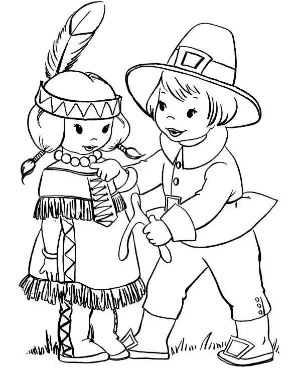 Thanksgiving Pilgrim Girl Coloring Pages  Pilgrim Boy Giving Thanksgiving Day Wishbone to Little