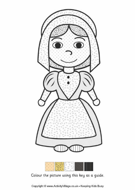 Thanksgiving Pilgrim Girl Coloring Pages  Pilgrim Girl Colour by Pattern