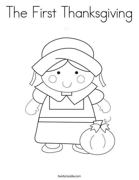 Thanksgiving Pilgrim Girl Coloring Pages  The First Thanksgiving Coloring Page Twisty Noodle