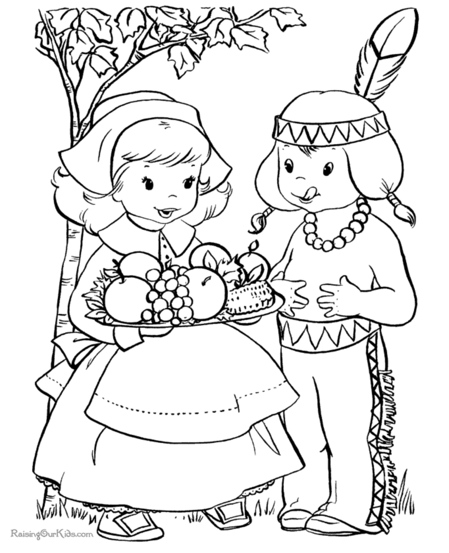 Thanksgiving Pilgrim Girl Coloring Pages  Thanksgiving