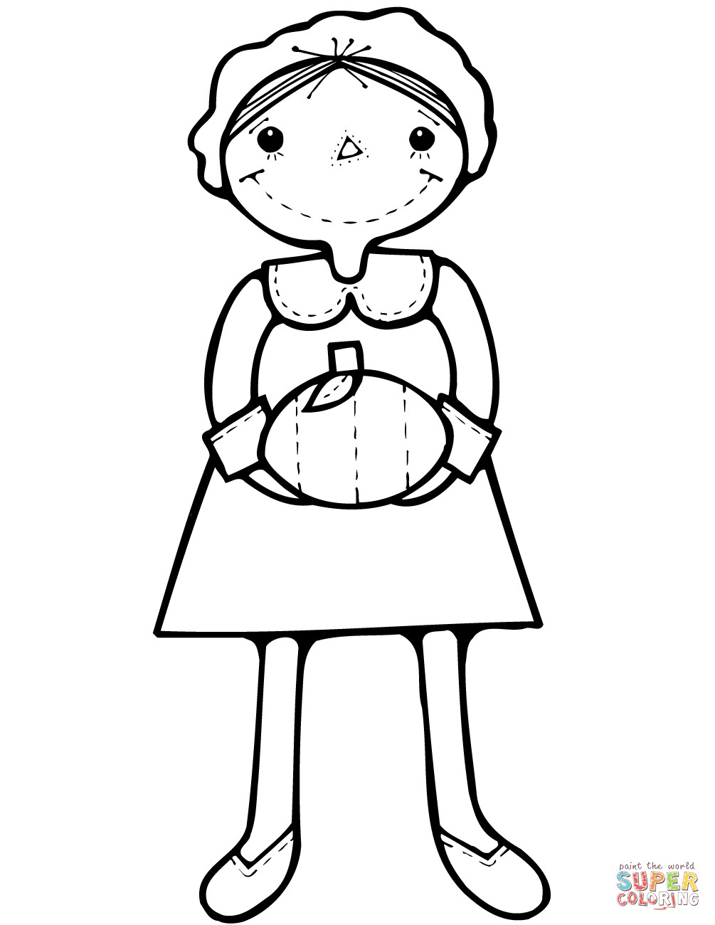Thanksgiving Pilgrim Girl Coloring Pages  Cartoon Pilgrim Girl with Pumpkin coloring page