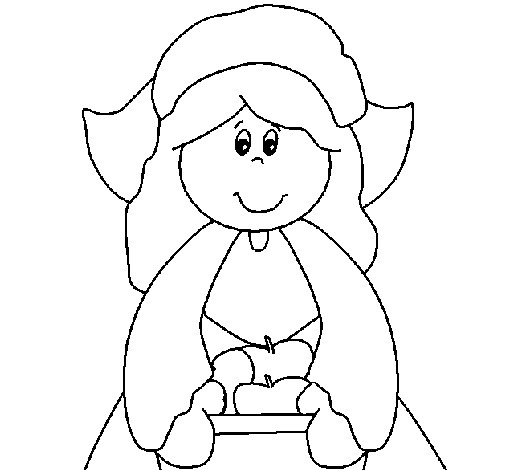 Thanksgiving Pilgrim Girl Coloring Pages  Colored page Pilgrim girl painted by yuan