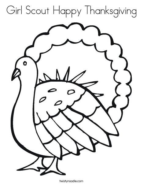 Thanksgiving Pilgrim Girl Coloring Pages  Girl Scout Happy Thanksgiving Coloring Page Twisty Noodle