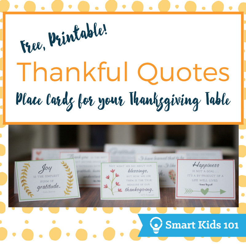 Thanksgiving Quotes For Kids  Free Printable Thankful Quotes for Your Thanksgiving
