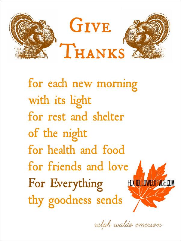 Thanksgiving Quotes For Kids  Thanksgiving Free Printable Series The Turkey Poem Fox