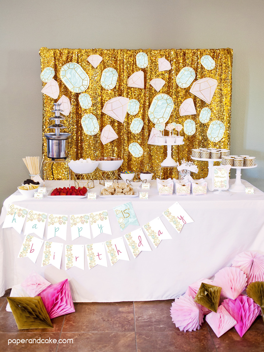 The Birthday Party  Gemstone Birthday Party Ideas Paper and Cake Paper and Cake