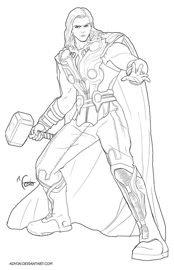 Thor Coloring Sheets For Boys  Thor Line art by Adyon on deviantART