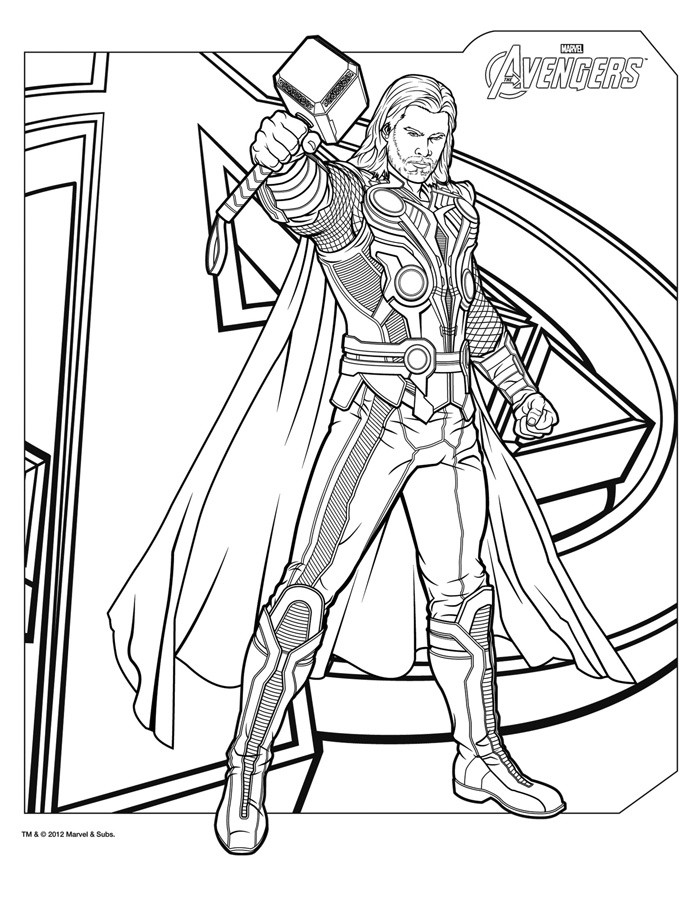 Thor Coloring Sheets For Boys  Coloriage THOR The Avengers a blogueur