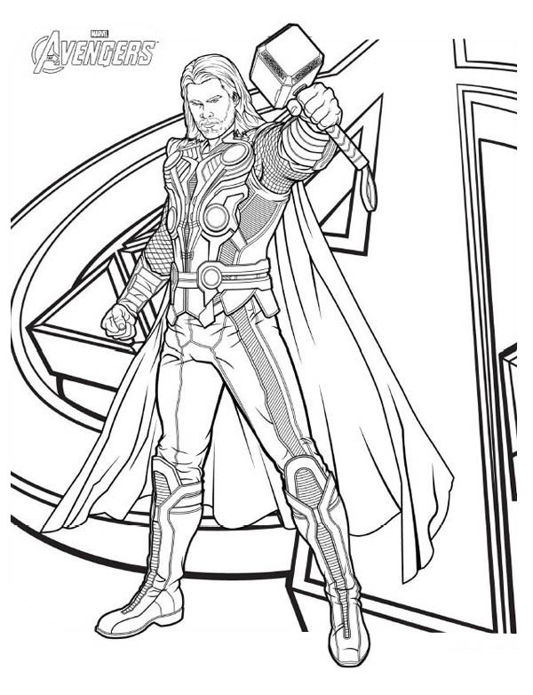 Thor Coloring Sheets For Boys  Avengers Character Thor Coloring Page Download & Print