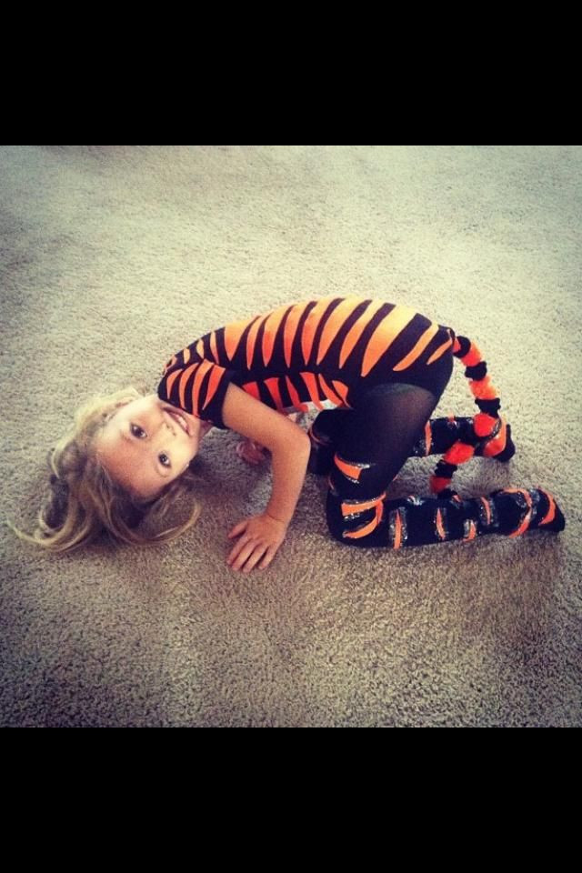 Tiger Costume DIY  DIY Halloween tiger kids costume for my girl Leotard