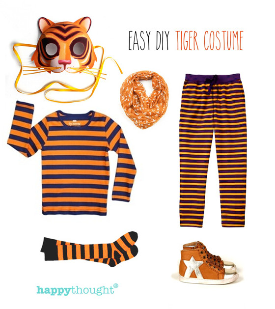 Tiger Costume DIY  Simple DIY mask ideas Easy fun dress up Animal costume