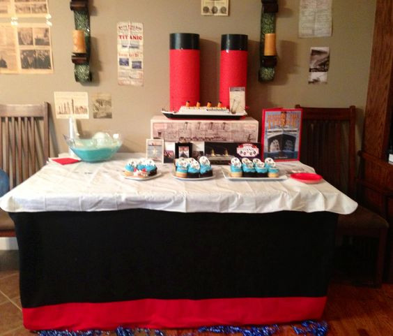 Titanic Birthday Party  Poster boards Black fabric and Dining tables on Pinterest