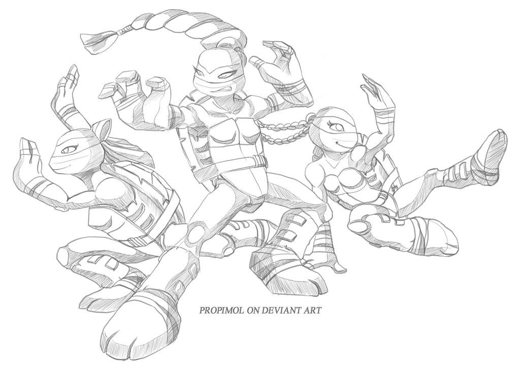 Tmnt Girls Coloring Pages  TMNT Girls by propimol on DeviantArt