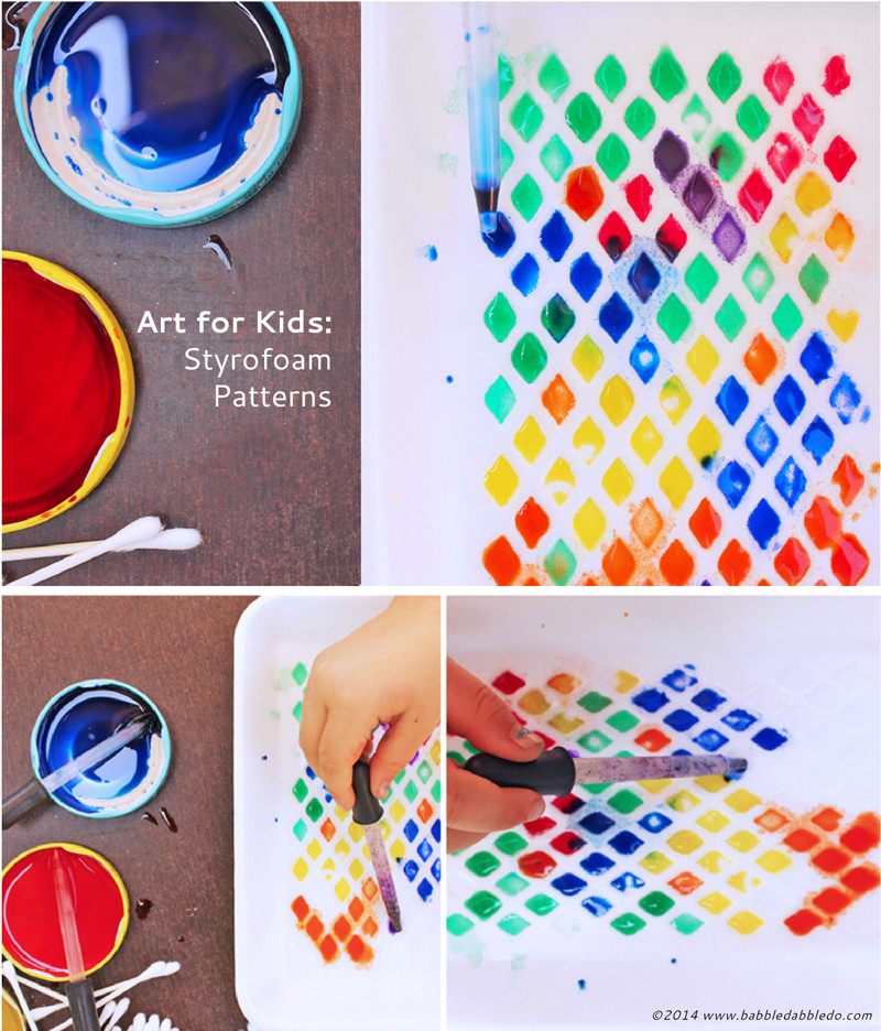 Toddler Artwork Ideas  Art Activities for Kids Styrofoam Patterns