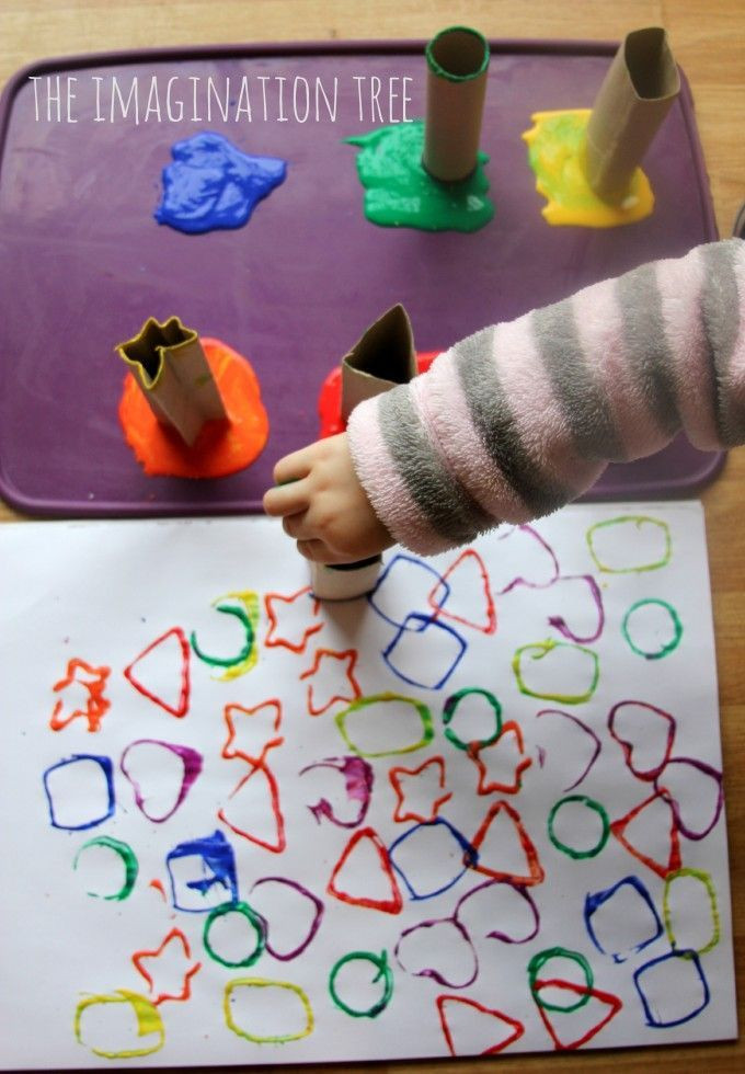 Toddler Artwork Ideas  Printing with Cardboard Shape Tubes