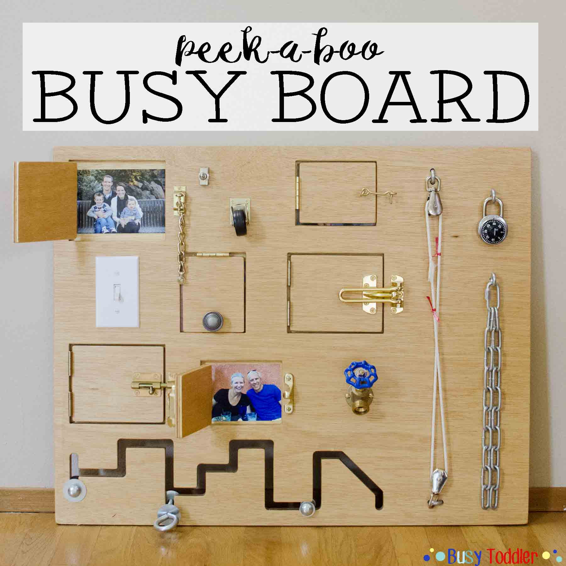 Toddler Busy Board DIY  Toddler Busy Board Peek a Boo Edition Busy Toddler