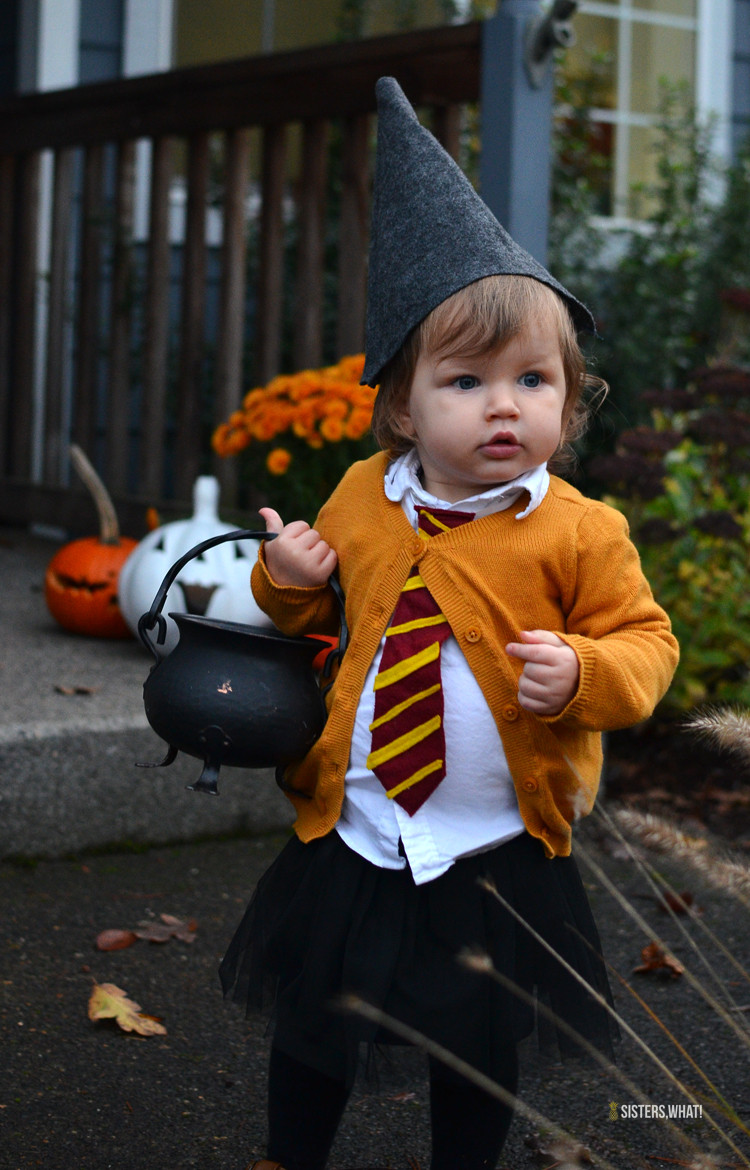Toddler DIY Costumes  DIY little witch Hermione Harry Potter girl toddler costume