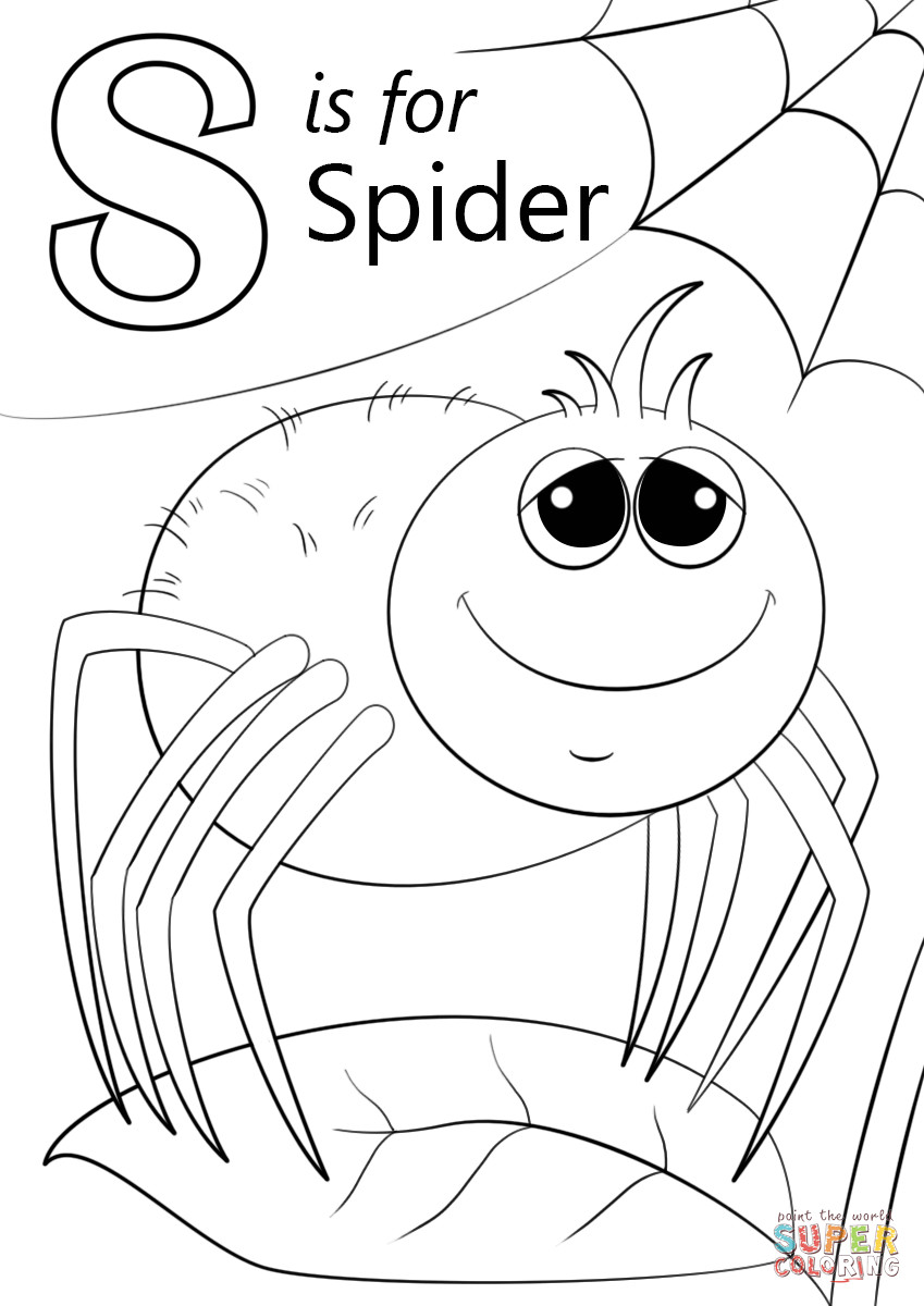 Toddler Letter S Coloring Sheets Preschool  Letter S is for Spider coloring page