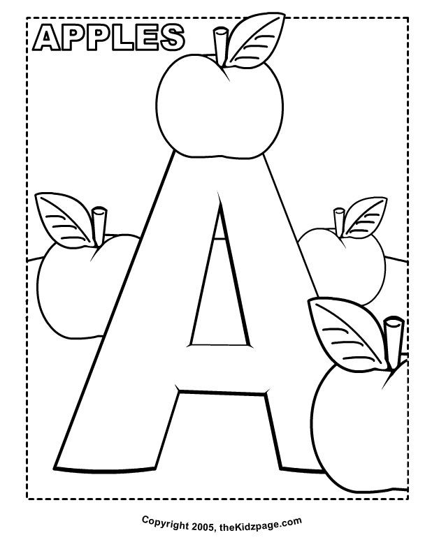 Toddler Letter S Coloring Sheets Preschool  A is for Apples Free Coloring Pages for Kids Printable
