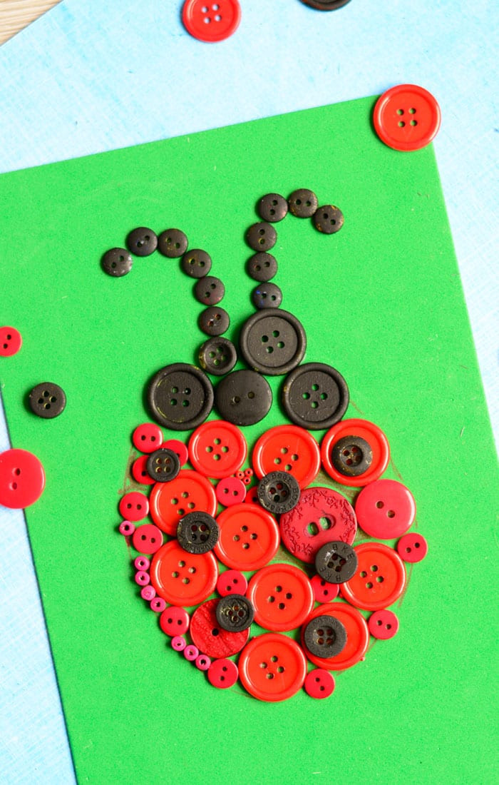 Toddlers Arts And Crafts Ideas  Ladybug Button Art Craft Easy Peasy and Fun