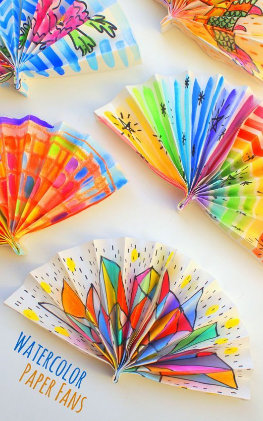 Toddlers Arts And Crafts Ideas  Watercolor Painted Paper Fans