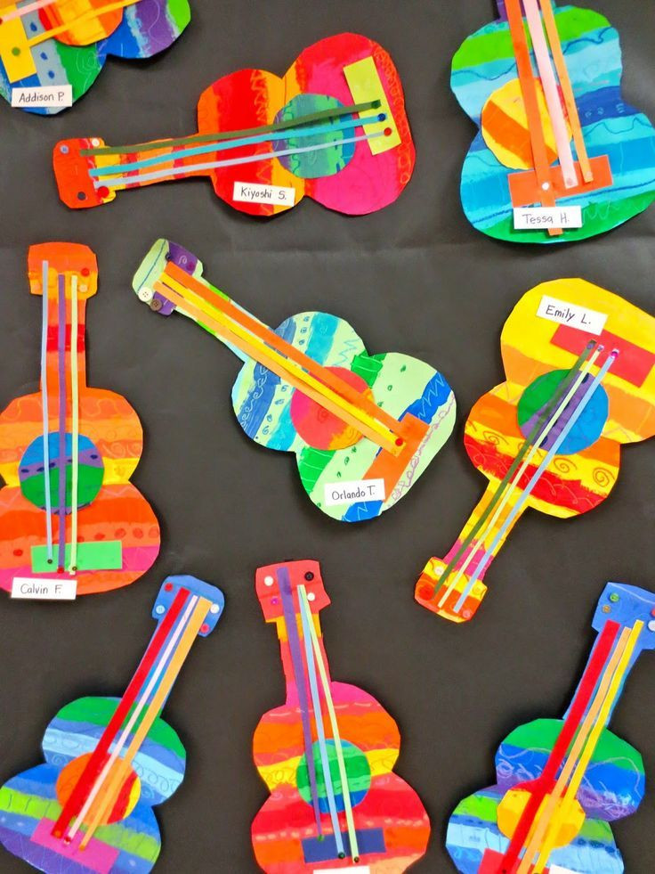 Toddlers Arts And Crafts Ideas  These collage guitars are adorable Perfect art project