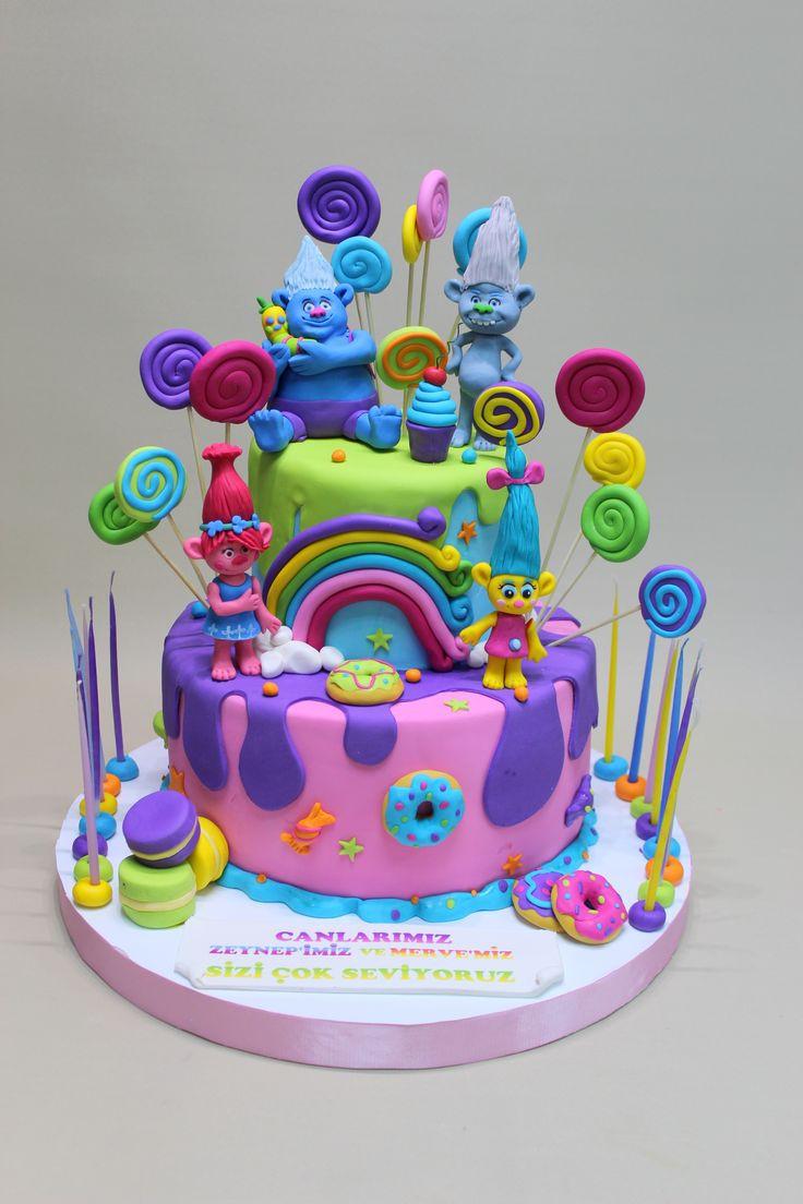 Trolls Birthday Cake Ideas  Trolls Cake Misketpasta Pinterest