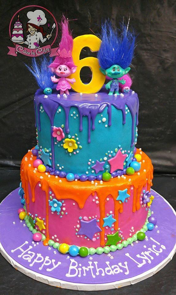 Trolls Birthday Cake Ideas  TROLLS BIRTHDAY CAKE No stars no orange drip flowers on