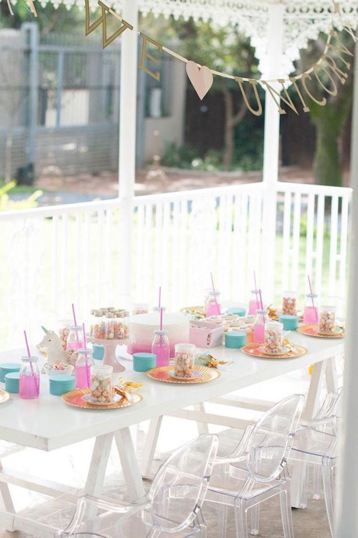 Unicorn Party Table Ideas  Kara s Party Ideas Magical Unicorn and Rainbow Birthday