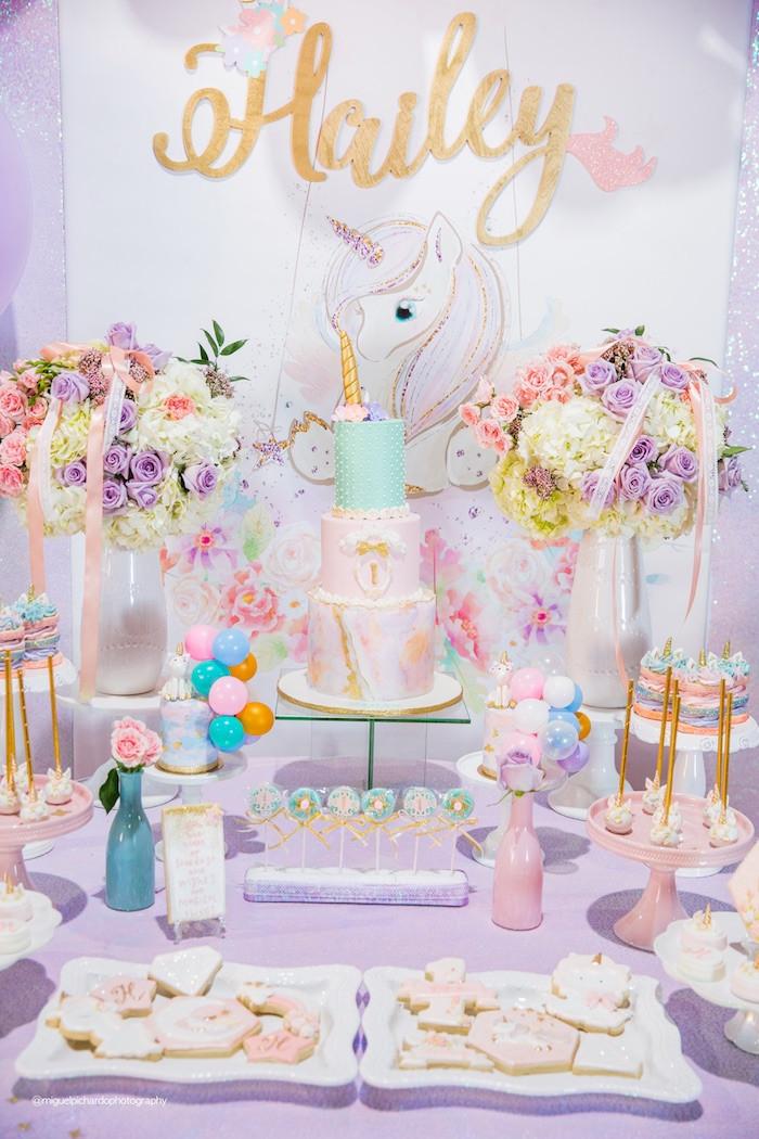 Unicorn Party Table Ideas  Kara s Party Ideas Sparkly Baby Unicorn Birthday Party