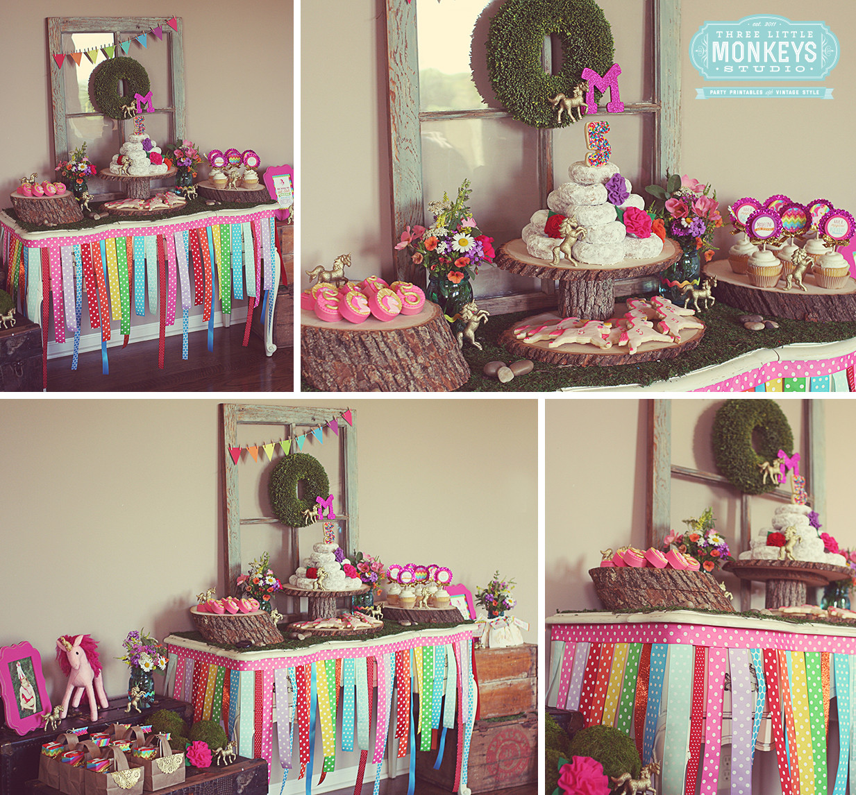 Unicorn Party Table Ideas  Madeline s Magical Unicorn Birthday Party Three Little