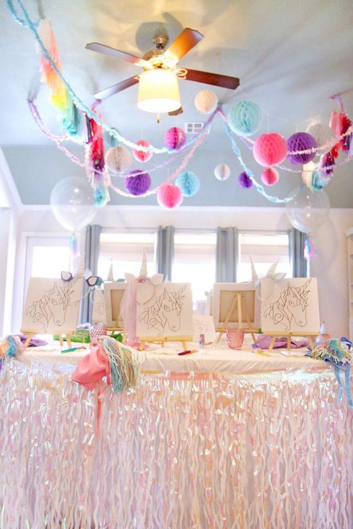 Unicorn Party Table Ideas  Kara s Party Ideas Magical Unicorn Art Birthday Party