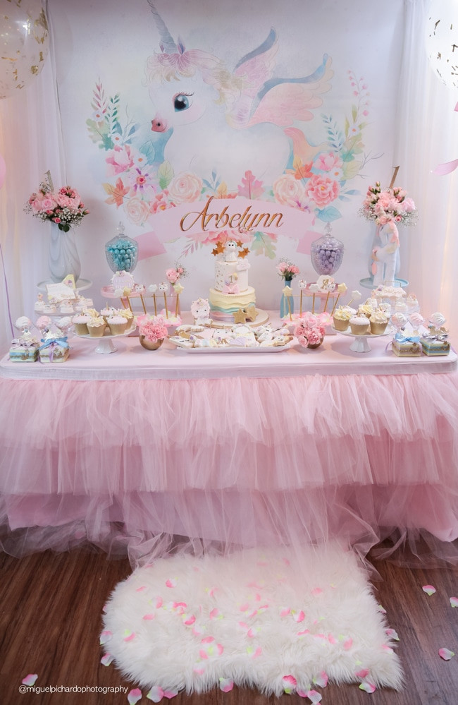 Unicorn Party Table Ideas  Baby Unicorn Themed First Birthday Party Pretty My Party