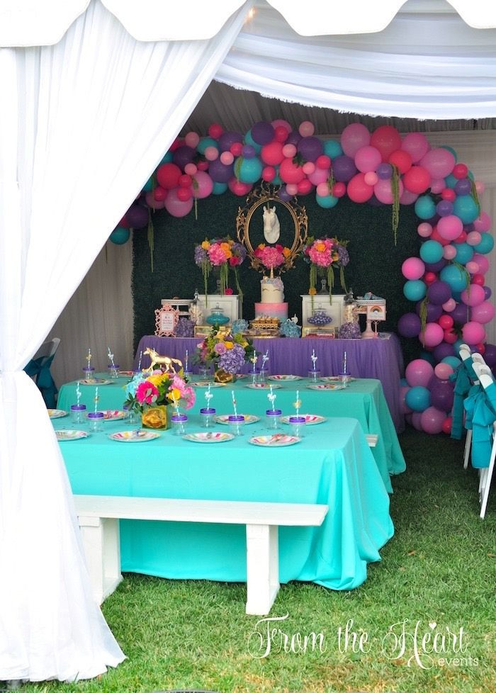 Unicorn Party Table Ideas  Guest tables from a Rainbow Unicorn Birthday Party on Kara