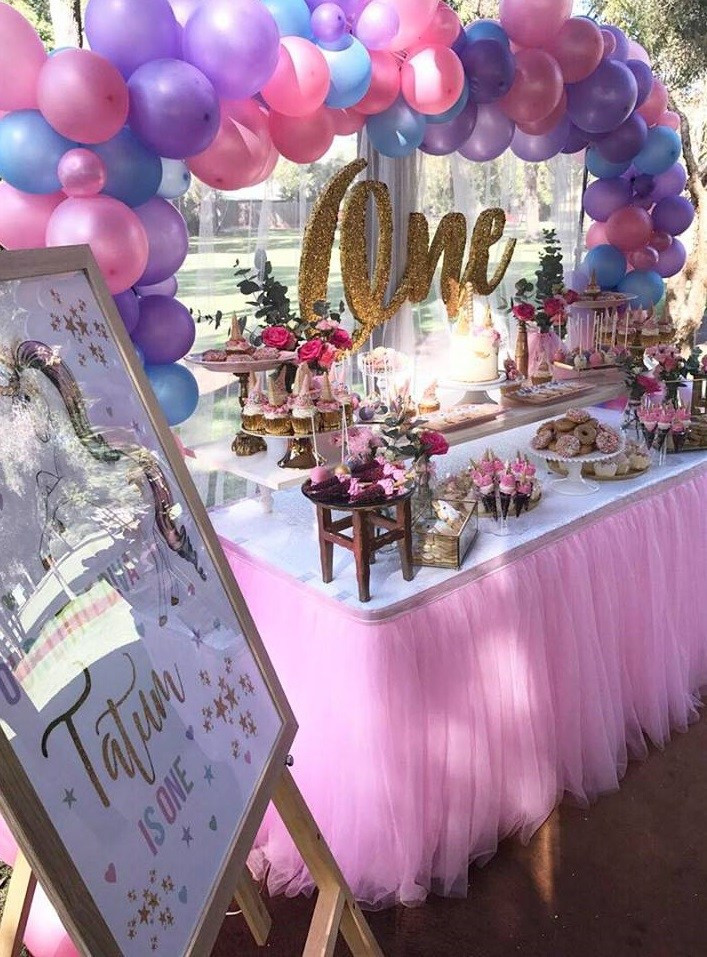 Unicorn Party Table Ideas  Magical Unicorn First Birthday Party Birthday Party