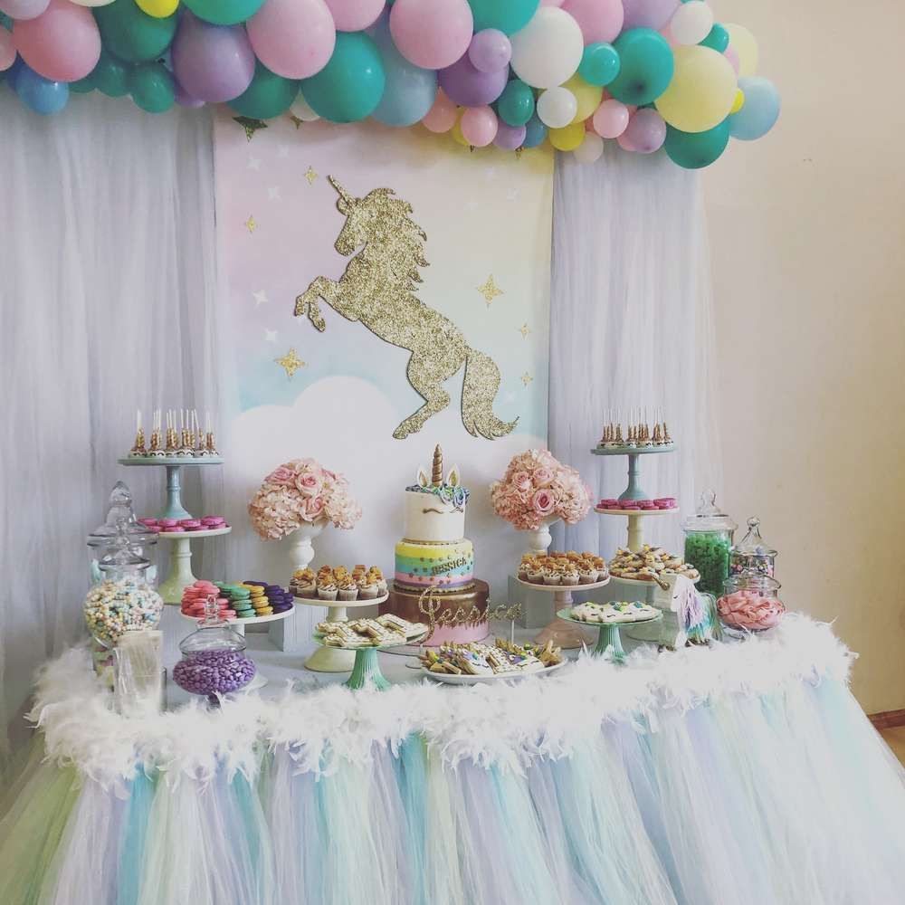 Unicorn Party Table Ideas  Take a look at this stunning Unicorn 1st Birthday Party