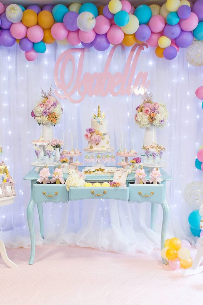 Unicorn Party Table Ideas  Magical Pastel Unicorn Party 1st Birthday Pretty My Party