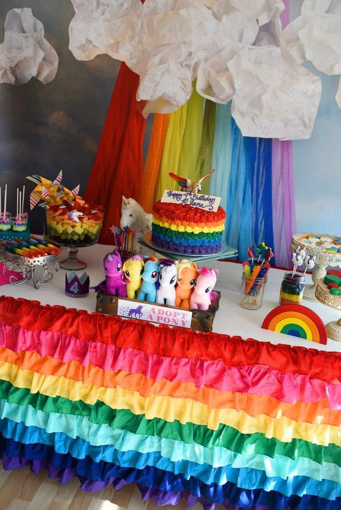 Unicorn Rainbow Party Ideas  Dessert table at a rainbows and unicorns birthday party