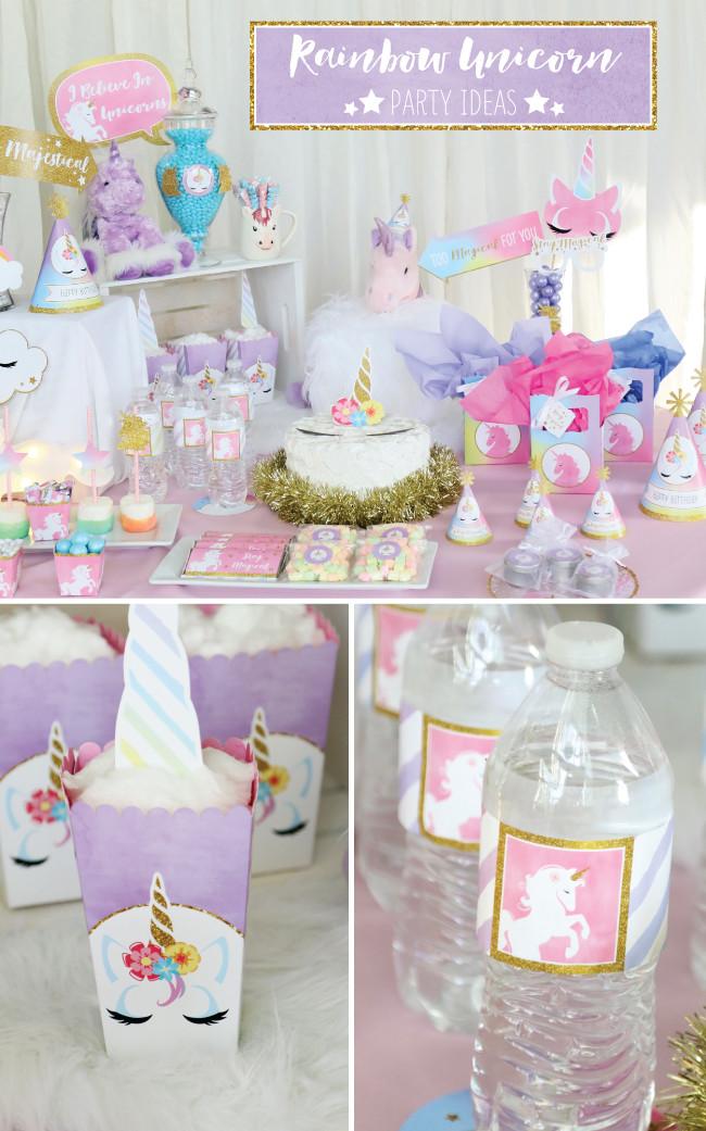 Unicorn Themed Party Ideas  Magical Rainbow Unicorn Party Supplies Marshmallow Pop