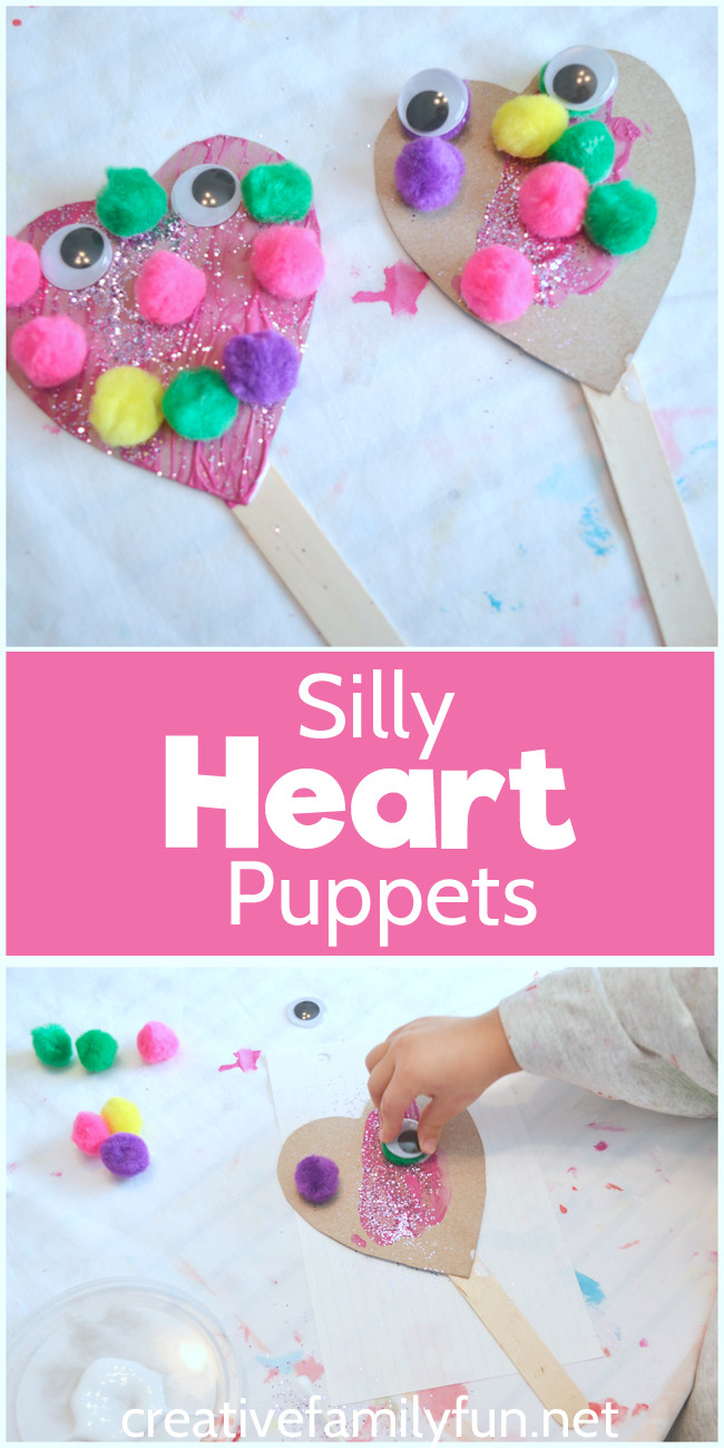 Valentine Crafts For Preschoolers To Make  Silly Heart Puppet Valentine Craft