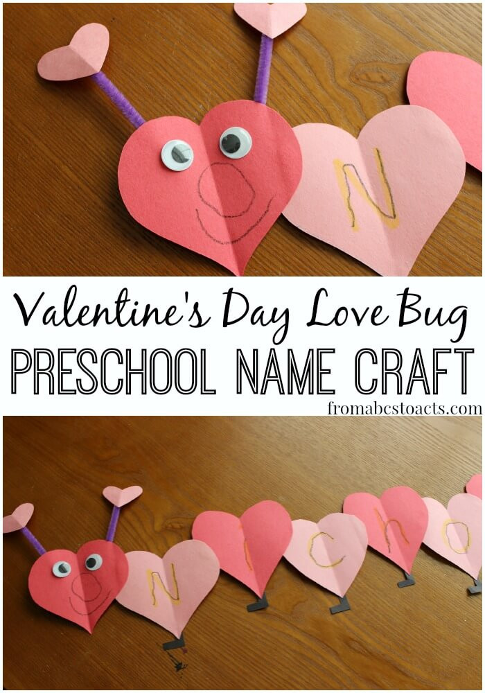 Valentine Crafts Ideas For Preschoolers  Love Bug Name Craft for Preschoolers