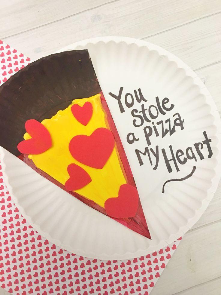 Valentine Crafts Ideas For Preschoolers  Valentine s Day Pizza Paper Plate Craft for Kids Tutorial