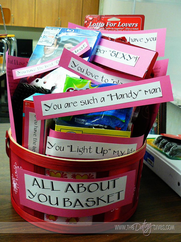 "Valentine Gift For Husband Ideas  ""All About You"" Basket"