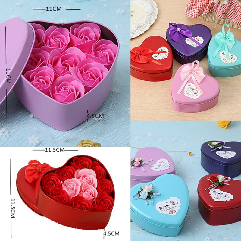 Valentine'S Gift Ideas  Heart Shaped Rose Love Box Artificial Dried Flowers Box