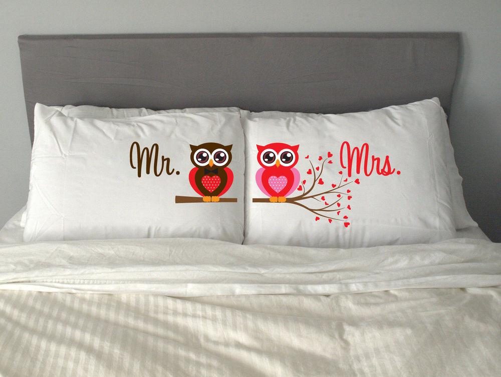Valentine'S Gift Ideas  MR & MRS OWL Pillow Case Gift Valentine s Day Wedding