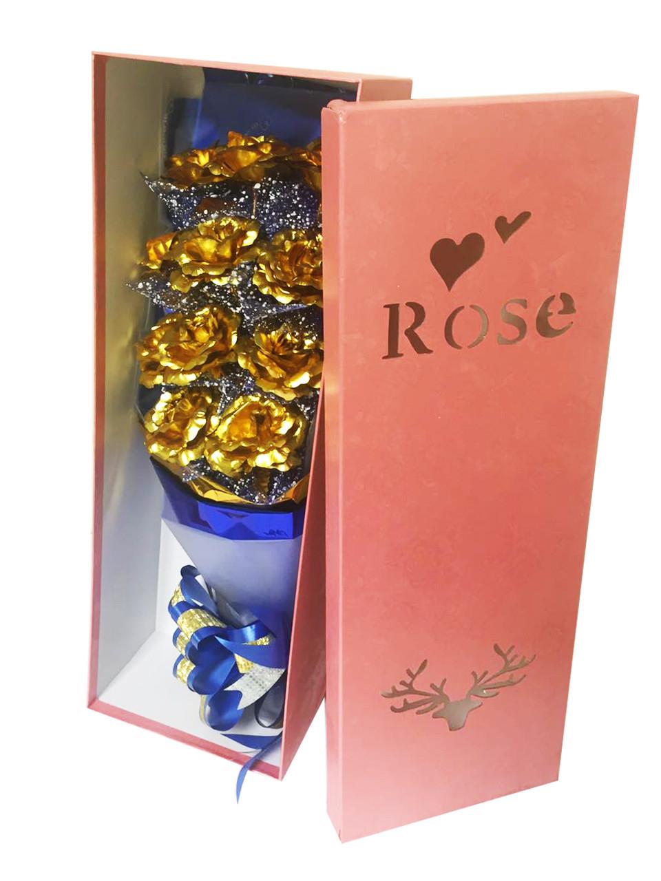 Valentine'S Gift Ideas  Abbie Home Golden Rose Bouquet Flower Gift Box for