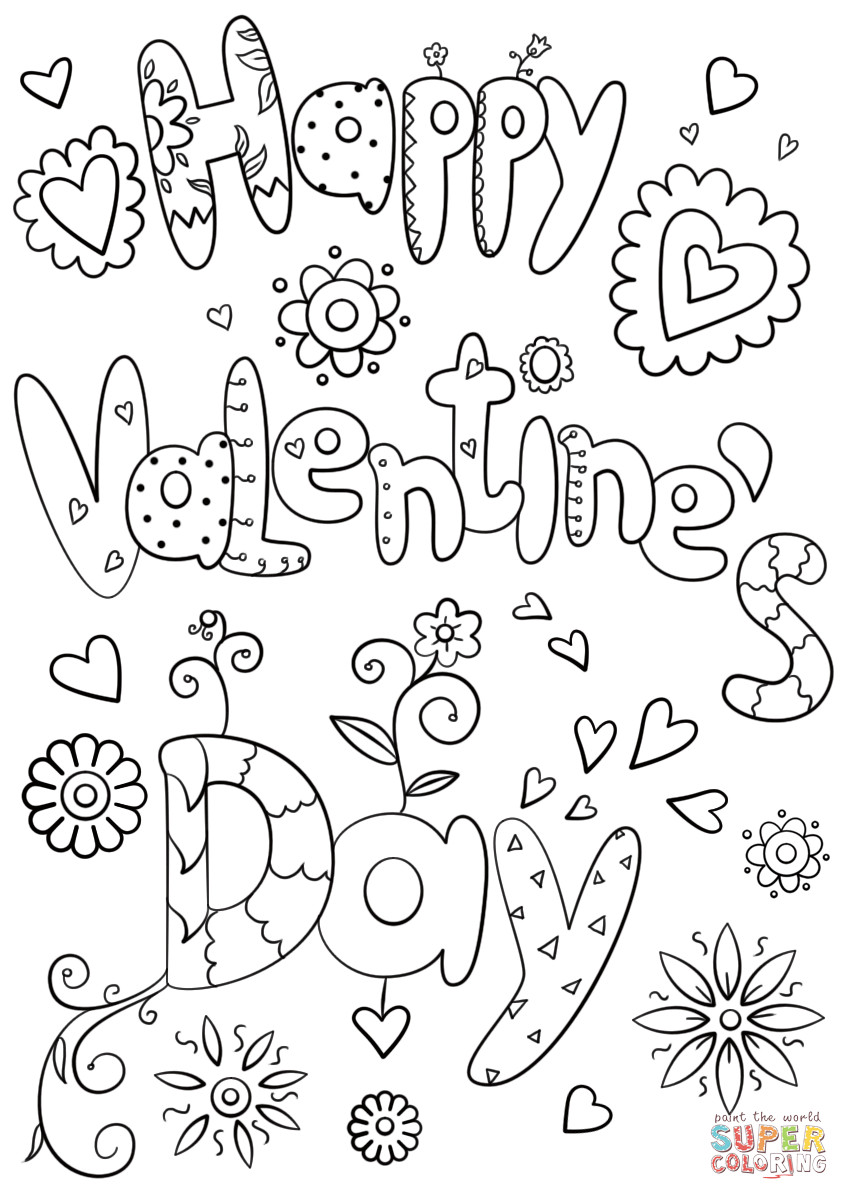 Valentines Coloring Pages Printable  Happy Valentine s Day coloring page