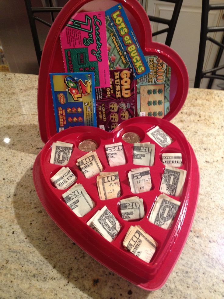 Valentines Day Gift Ideas  valentine chocolate heart box with cash and lottery