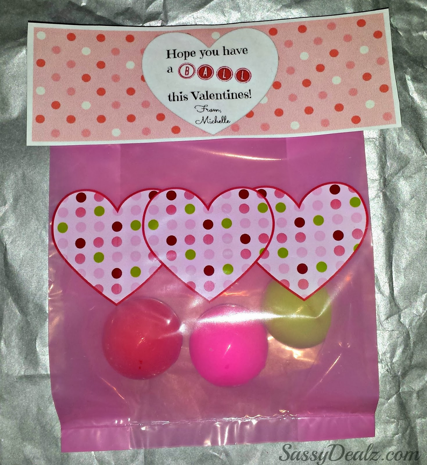 Valentines Gift Bag Ideas  DIY Valentine s Day Bouncy Ball Gift Bag Idea Crafty Morning