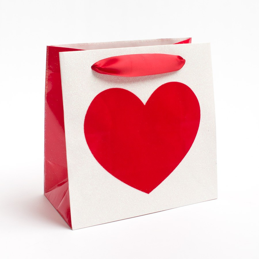 Valentines Gift Bag Ideas  Single Heart Gift Bag Valentine s Day Gift Bags